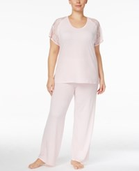 Flora Nikrooz By Plus Size Rylie Lace Sleeve Knit Pajama Set Ballet Pink