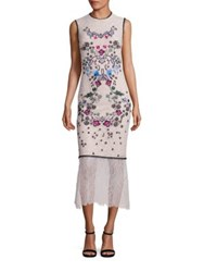 Yigal Azrouel Floral Embroidered Sheer Hem Dress Ivory Multi