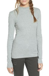 Women's Bp. Rib Knit Mock Neck Tee Grey Medium Heather