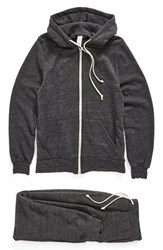 Alternative Apparel Men's Alternative 'Warm Up Suit' Hoodie And Sweatpants Set Eco Black