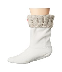 Hunter 6 Stitch Cable Boot Sock Short Greige Women's Crew Cut Socks Shoes Brown
