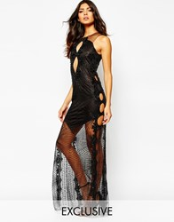 A Star Is Born Luxe Sequin Jewel Maxi Dress With Embellished Mesh Skirt Black