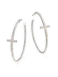 Jude Frances White Sapphire And Sterling Silver Cross Hoop Earrings 1.75