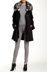 1.State Faux Fur Trim Jacket Black