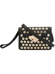 Corto Moltedo Leaf Detail Snap Button Clutch Black