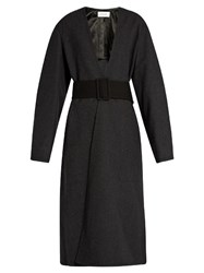 Christophe Lemaire Lightweight Wool Wrap Coat Dark Grey