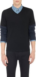 Barneys New York Contrast Sleeve Pullover V Neck Sweater Black