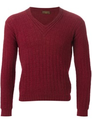 Yves Saint Laurent Vintage Knitted V Neck Pullover Red