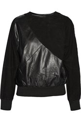 Oak Rodeo Paneled Suede And Leather Top Black
