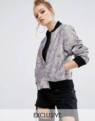 Reclaimed Vintage Luxury Brocade Bomber Jacket Lilac Purple
