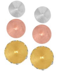Rachel Roy Tri Tone 3 Pc. Set Spiked Stud Earrings With Interchangeable Earring Jackets Gold
