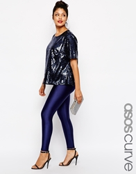 Asos Curve Legging With High Waist In Shimmer Disco Navy