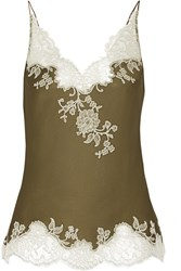 Carine Gilson Sonia Lace Trimmed Silk Satin Camisole Green