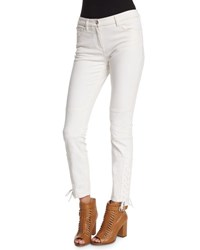 Belstaff Mid Rise Lace Up Ankle Jeans Off White