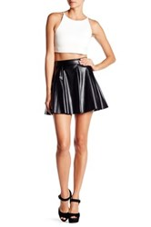 Necessary Objects Faux Leather Skater Skirt Black