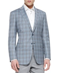 Brioni Check Wool Jacket Blue