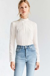 Kimchi And Blue Victorian Mock Neck Blouse Ivory