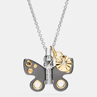 Coach Butterfly Necklace Silver Black