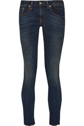 R 13 Kate Cropped Low Rise Skinny Jeans