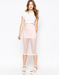 Motel Bobby Midi Skirt In Pink Stripe Net Pink