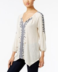 Styleandco. Style Co. Embroidered Bishop Sleeve Top Only At Macy's Wildflower Ivory