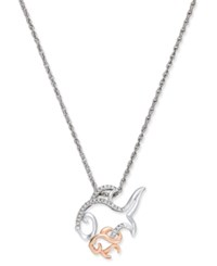 Macy's Diamond Mother And Child Fish Pendant Necklace 1 10 Ct. T.W. In Sterling Silver And 14K Rose Gold Two Tone