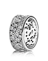 Pandora Design Pandora Ring Sterling Silver And Cubic Zirconia Shimmering Leaves