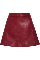 Ganni Leather Mini Skirt Claret