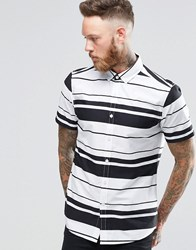 Asos Striped Shirt In Monochrome White Black