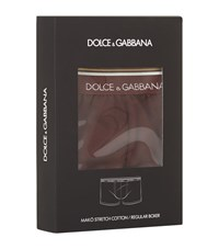 Dolce And Gabbana Logo Gold Stripe Trunks Male Red