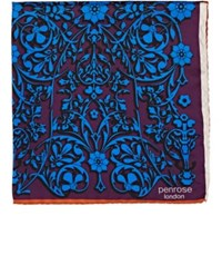 Penrose London Men's Floral Silk Twill Pocket Square Purple