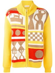 Walter Van Beirendonck Ethnic Pattern Zipped Cardigan Yellow Orange