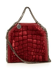 Stella Mccartney Falabella Crocodile Effect Velvet Cross Body Bag Dark Red