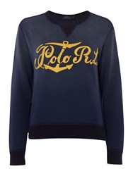 Polo Ralph Lauren Long Sleeve Crew Neck Anchor Sweater Navy