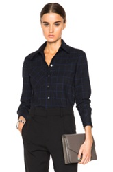 Derek Lam 10 Crosby Camp Top In Blue Checkered And Plaid