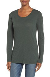 Caslonr Women's Caslon Long Sleeve Slub Knit Tee Green Wood