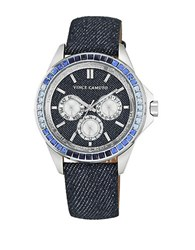 Vince Camuto Stainless Steel Denim Strap Chronograph Vc5277dkdm Blue
