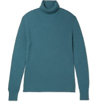 Tom Ford Ribbed Cashmere Rollneck Sweater Blue