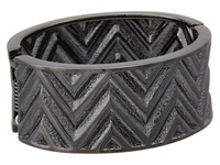 Guess Chevron Stripe Wide Stretch Bracelet Hematite Bracelet Silver