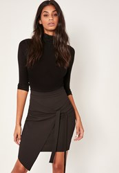 Missguided Black Tall Crepe Tie Front Wrap Mini Skirt
