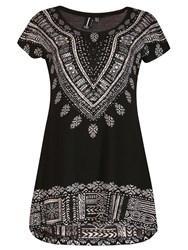 Izabel London Embellished Aztec Print Top Black