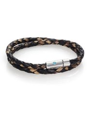 Tateossian Paraiba Topaz Printed Leather And Sterling Silver Double Wrap Braided Bracelet Brown Multi
