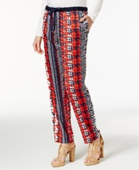 Tommy Hilfiger Houndstooth Print Drawstring Pants Navy Houndstooth