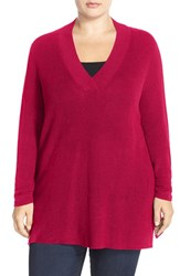 Plus Size Women's Sejour V Neck Sweater Red Cerise
