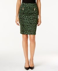 Michael Kors Animal Print Pencil Skirt Green
