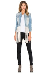 Theperfext Molly Fringe Leather Jacket Cream Leather Fringe