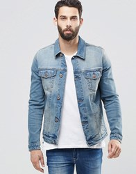 Asos Denim Jacket In Skinny Fit With Mid Wash Blue
