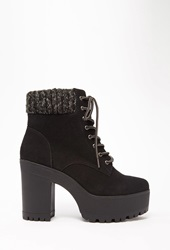 Forever 21 Suede Lace Up Platform Booties Black