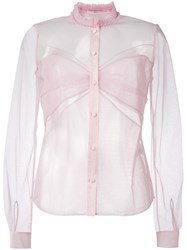 Mary Katrantzou Ruffle Collar Tulle Blouse Pink Purple