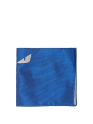 Fendi Bag Bugs Silk Pocket Square Blue